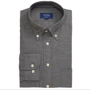 Eton Flannel Slim Fit Shirt Gray Large